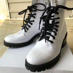 63cbe904113 Steve Madden Shoes - Steve Madden White Patent Leather Geneva Boots